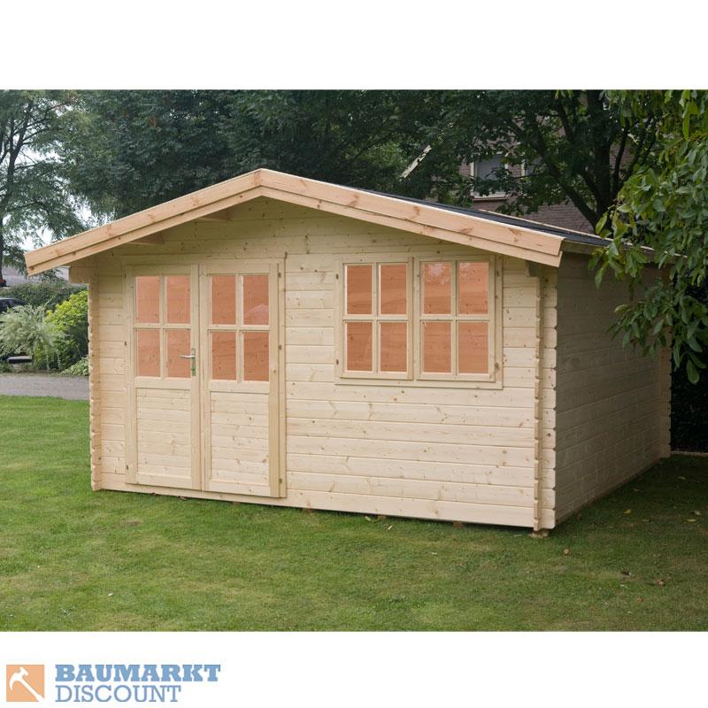 gartenhaus blockbohlenhaus isar 28 mm 380 x 380 cm neu ebay. Black Bedroom Furniture Sets. Home Design Ideas