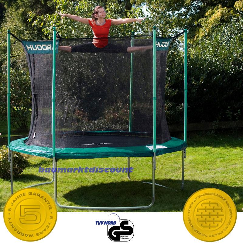 hudora trampolin 305 cm mit sicherheitsnetz neues modell bis 220 kg ebay. Black Bedroom Furniture Sets. Home Design Ideas