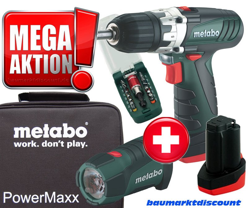 metabo akkuschrauber powermaxx bs mit 2 akkus led lampe bitset softtasche ebay. Black Bedroom Furniture Sets. Home Design Ideas
