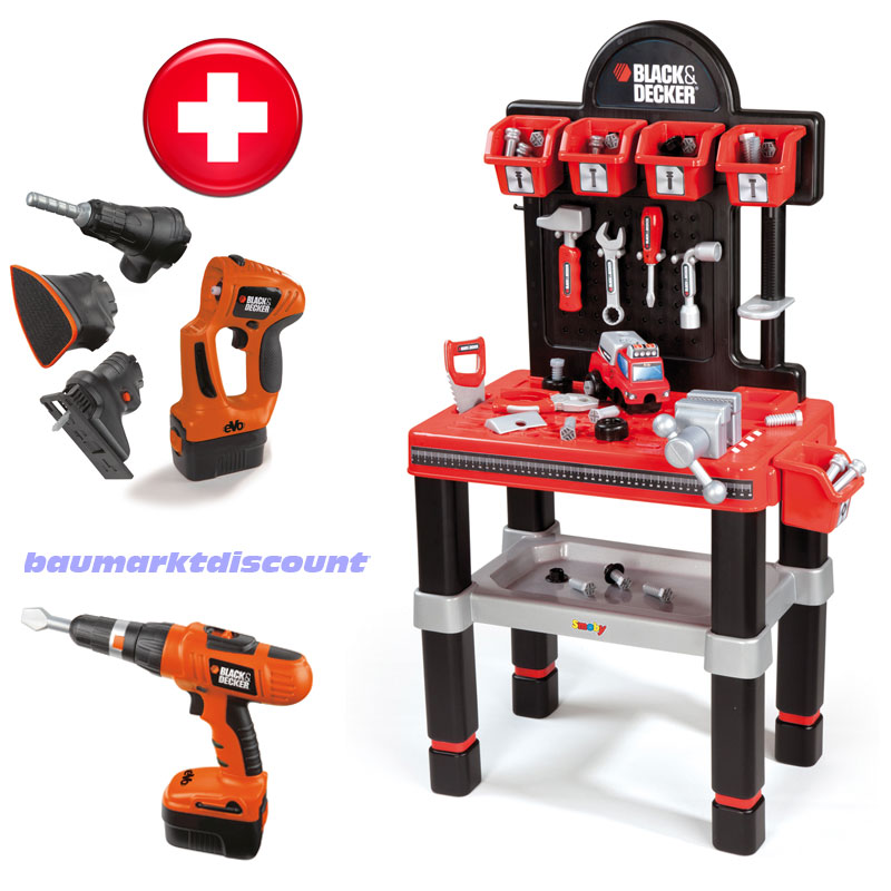 black decker kinder werkbank smoby 60 tlg zubeh r akkuschrauber multiger t ebay. Black Bedroom Furniture Sets. Home Design Ideas