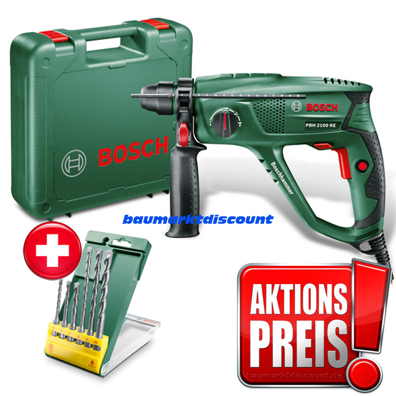 bosch bohrhammer pbh 2100 re 6 tlg bohrerset im koffer ebay. Black Bedroom Furniture Sets. Home Design Ideas
