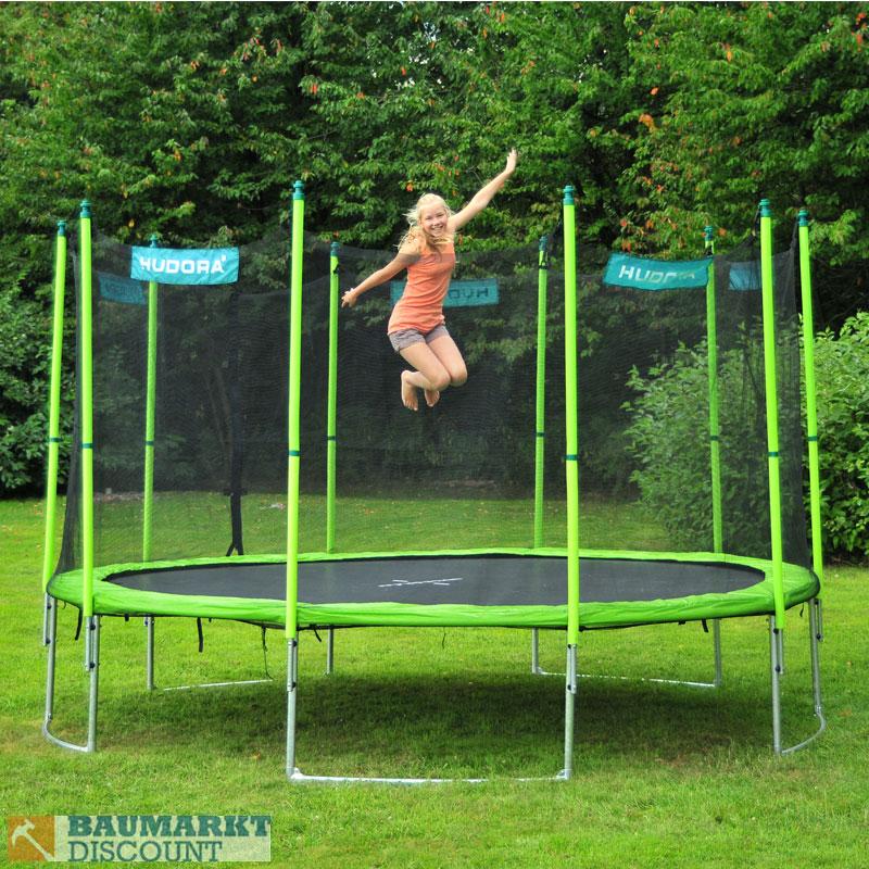 hudora family trampolin 400 cm mit netz und leiter nachfolger vom 366 426 cm neu ebay. Black Bedroom Furniture Sets. Home Design Ideas