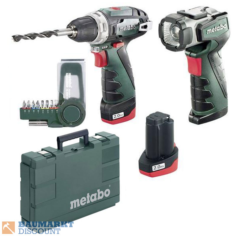 metabo akku bohrschrauber powermaxx basic set mit lampe ula led im koffer ebay. Black Bedroom Furniture Sets. Home Design Ideas