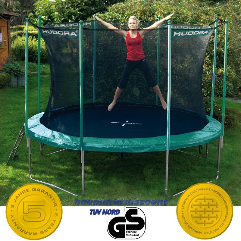 hudora trampolin 366 cm mit sicherheitsnetz und leiter neues modell ebay. Black Bedroom Furniture Sets. Home Design Ideas