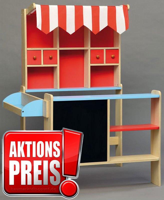 kaufmannsladen kaufladen aus holz mit markise und verkaufstresen ebay. Black Bedroom Furniture Sets. Home Design Ideas