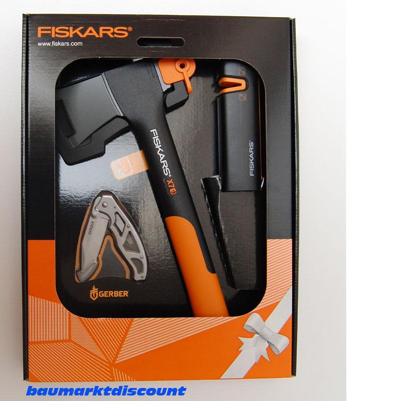 Fiskars Universalaxt Beil X7 + Gerber Messer + Xsharp Axt ...