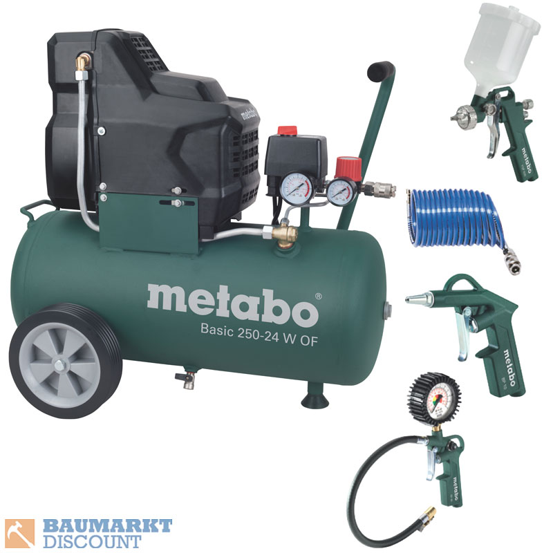 metabo kompressor basic 250 24 w of inkl metabo zubeh r set lpz 4 ebay. Black Bedroom Furniture Sets. Home Design Ideas