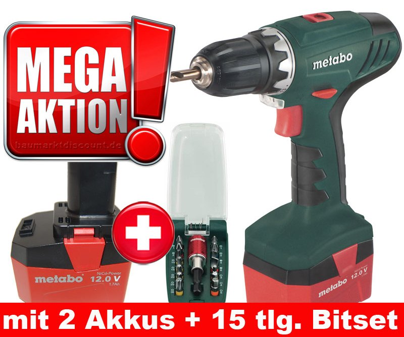 metabo akkuschrauber bs 12 nicd mit 2 akkus im koffer 15 tlg metabo bitset ebay. Black Bedroom Furniture Sets. Home Design Ideas