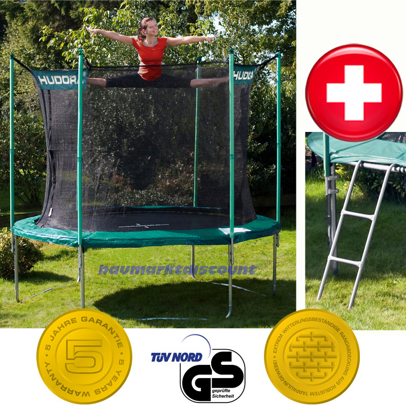 hudora trampolin 305 cm mit sicherheitsnetz und leiter das neue model 2012 ebay. Black Bedroom Furniture Sets. Home Design Ideas